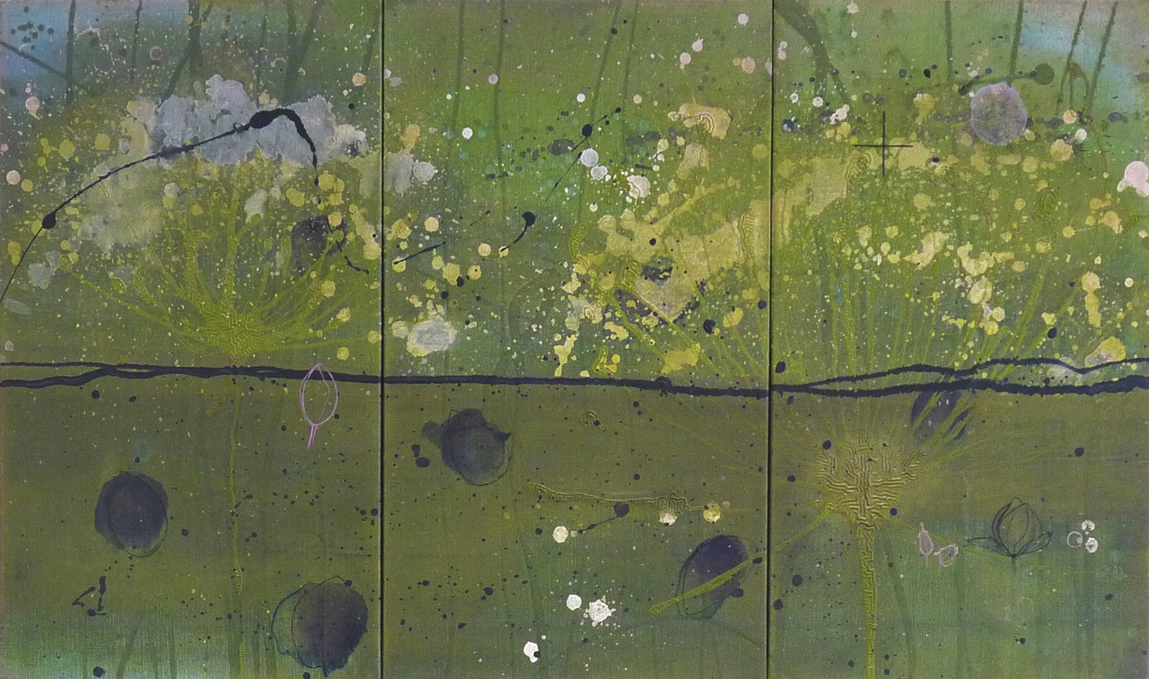 Somewhere to grow older and somewhere a reason to try | Gemengde technieken op doek | 70 x 120 cm | 2012